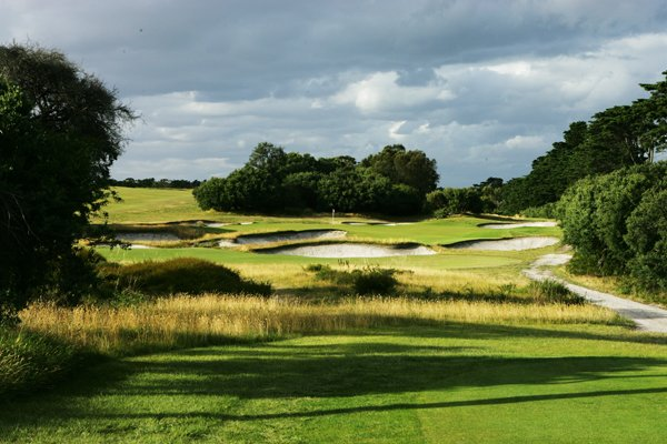 The 186-yard, par-3 14th hole at Royal Melbourne Golf Club (normally the 16th hole on the East Course).