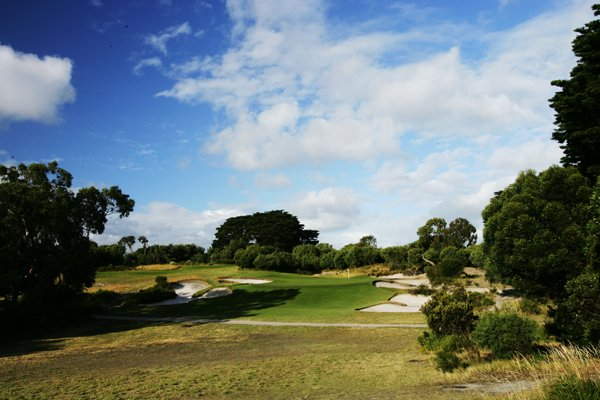 The 176-yard, par-3 3rd hole at Royal Melbourne (normally the fifth hole on the West Course).