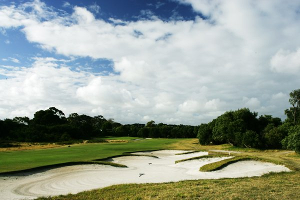 The 476-yard, par-5 8th hole at Royal Melbourne (normally the 12th hole on the West Course).