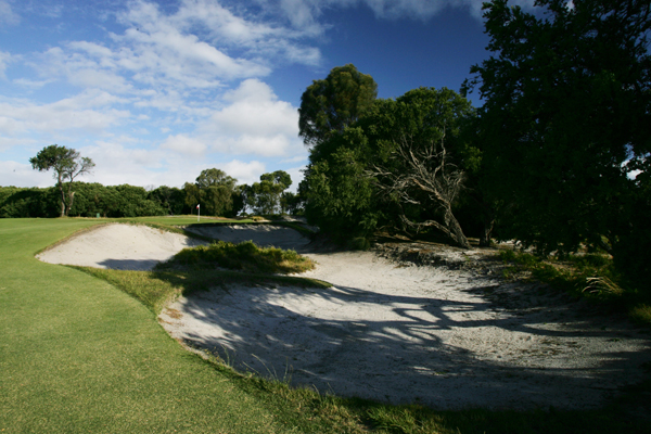 The 438-yard, par-5 9th hole at Royal Melbourne (normally the 17th hole on the West Course).
