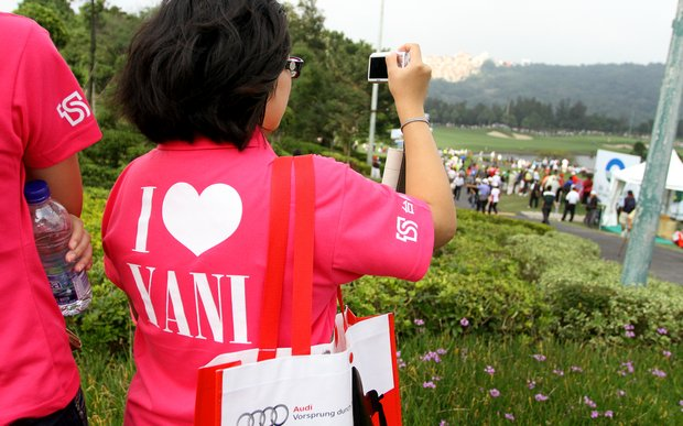 "Yani Tseng fans wearing ""I love Yani"" T-shirts watch the action during Thursday's round of the inaugural 2011 Sunrise LPGA Taiwan Championship."