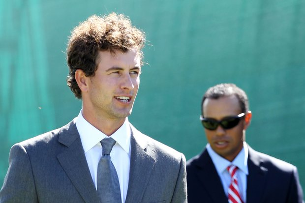 Adam Scott (foreground) and Tiger Woods during the Presidents Cup Opening Ceremonies.