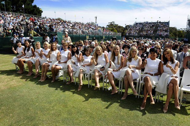 Wives and girlfriends of the International Presidents Cup team during the Opening Ceremonies.