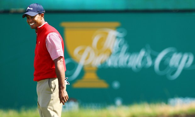 Tiger Woods and partner Steve Stricker will take on Adam Scott and K.J. Choi a little after 10 p.m. EST.