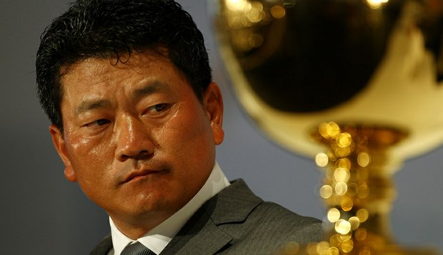 K.J. Choi listens as South Korea is announced as the host for the 2015 Presidents Cup.