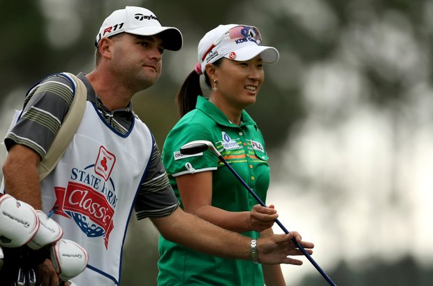Se Ri Pak with her caddie on Thursday at the CME Group Titleholders at Grand Cypress in Orlando, Fla.