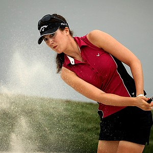 Sandra Gal blasts out of the bunker at No. 3 on Thursday at the CME Group Titleholders at Grand Cypress. She posted a 69 in the first round.