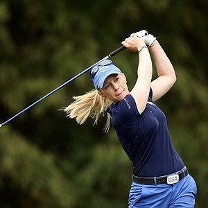 Morgan Pressel hits her tee shot on Thursday at the CME Group Titleholders at Grand Cypress in Orlando, Fla.