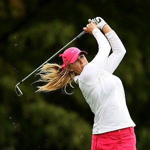 Amanda Blumenherst hits her tee shot at No. 4 on Thursday at the CME Group Titleholders at Grand Cypress in Orlando, Fla.
