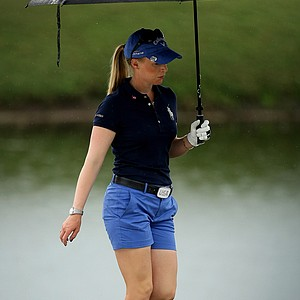 Morgan Pressel walks along the bunker at No. 3 on Thursday at the CME Group Titleholders at Grand Cypress in Orlando, Fla.