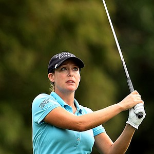 Cristie Kerr watches her tee shot on Thursday at the CME Group Titleholders at Grand Cypress in Orlando, Fla.