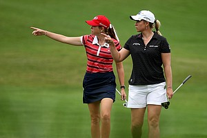 Paula Creamer, left, and Brittany Lincicome in the fairway at No. 3 Thursday at the CME Group Titleholders at Grand Cypress in Orlando, Fla.