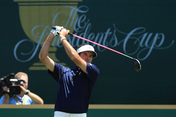 Bubba Watson of the U.S. hits his tee shot on the first hole during the Day 1 Foursome matches at the 2011 Presidents Cup.