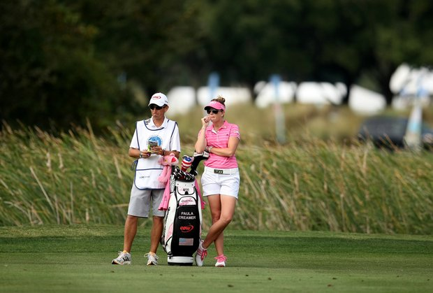 Paula Creamer and her caddie Colin Cann on Friday at the CME Group Titleholders at Grand Cypress in Orlando, Fla.