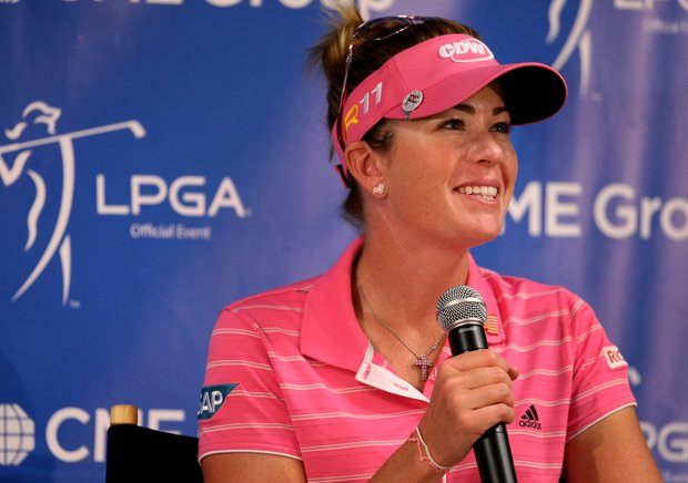 Paula Creamer during her press conference on Friday at the CME Group Titleholders at Grand Cypress. Creamer shot a 71.