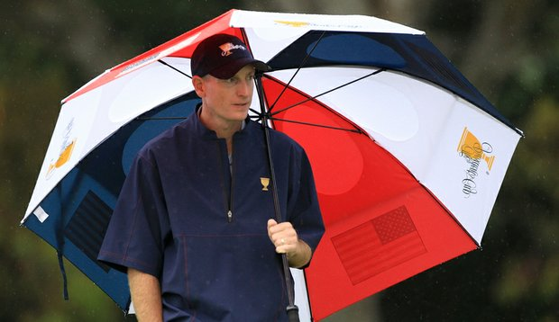 Jim Furyk looks on at the sixth hole during the Day 3 Foursome Matches of the 2011 Presidents Cup.