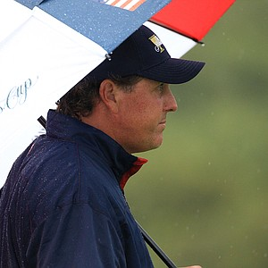 Phil Mickelson looks on at the sixth hole during the Day 3 Morning Foursomes Matches of the 2011 Presidents Cup.