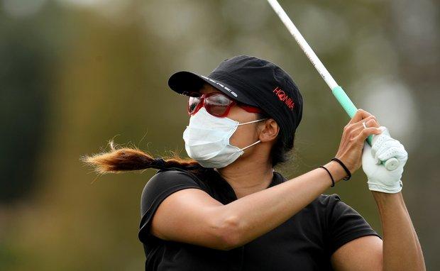 Jimin Kang hits her tee shot at No. 11 on Saturday at the CME Group Titleholders at Grand Cypress in Orlando, Fla.