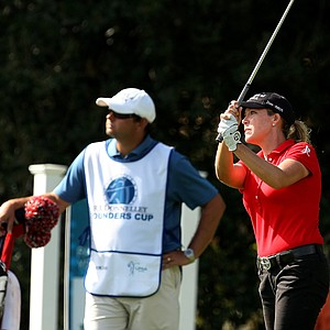 Cristie Kerr watches her tee shot at No. 12 on Saturday at the CME Group Titleholders at Grand Cypress in Orlando, Fla.