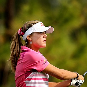 Lexi Thompson watches her tee shot at No. 13 on Saturday at the CME Group Titleholders at Grand Cypress in Orlando, Fla.