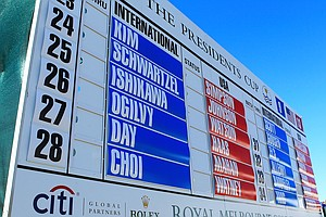 A leaderboard is seen during the Day Four singles matches of the 2011 Presidents Cup.