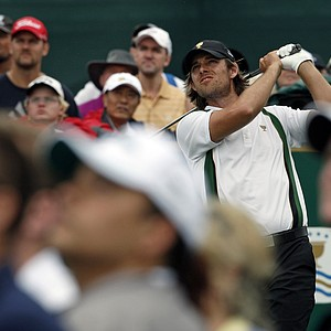 Aaron Baddeley of Australia tees off on the fifth hole during the Presidents Cup.