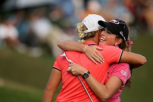 Paula Creamer and Suzann Pettersen hug during the final round of the CME Group Titleholders at Grand Cypress in Orlando, Fla.