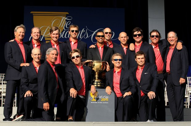 The U.S. team poses with the Presidents Cup trophy during the closing ceremonies after defeating the International team 19-15 at the 2011 Presidents Cup.