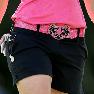 Paula Creamer's Pink Panther belt buckle during the final round of the CME Group Titleholders at Grand Cypress.
