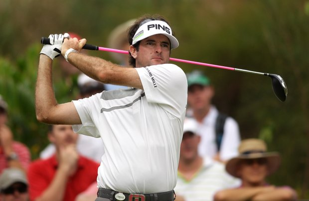 Bubba Watson drives on the 3rd hole during the first round of the 2011 Australian PGA Championship.