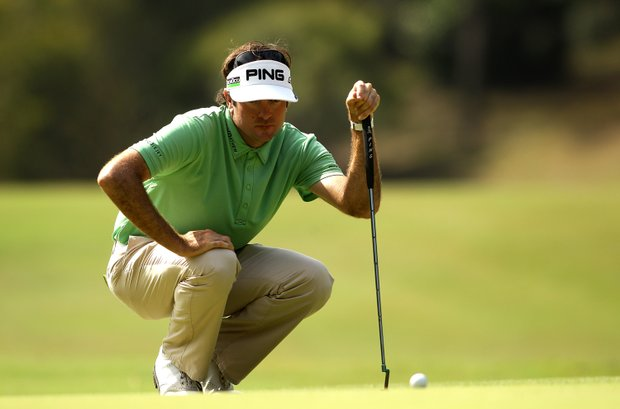 Bubba Watson lines up a putt on the 10th hole during Day 2 of the 2011 Australian PGA Championship.