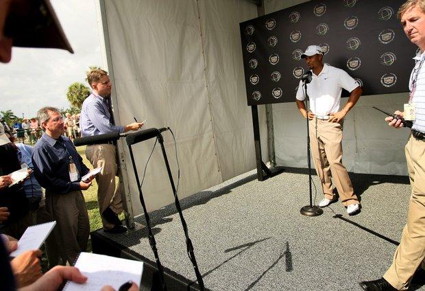 Tiger Woods addresses the media at World Golf Championships at Doral Resort and Spa.