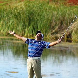 Hennie Otto celebrates winning the South African Open Championship.
