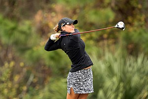 Mallory Blackwelder of Big Break Ireland on Golf Channel hits a shot during the second round. Blackwelder is currently T47.