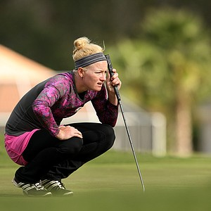 Nicole Smith of Big Break Ireland lines up a putt during the second round of LPGA Qualifying Tournament. Smith is currently tied for 77th.