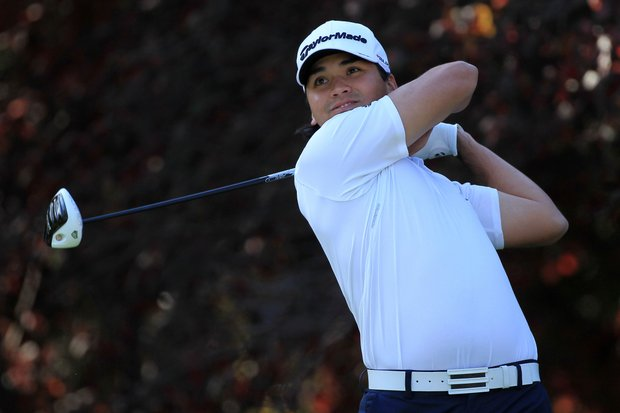 Jason Day of Australia hits his tee shot on the second hole during the first round of the Chevron World Challenge.