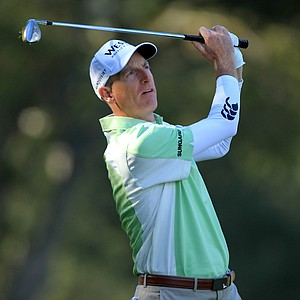 Jim Furyk hits second shot on the first hole during the first round of the Chevron World Challenge.
