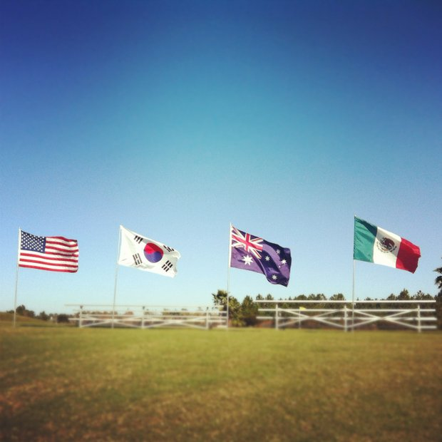 A few of the flags representing players countries during the second round of LPGA Qualifying Tournament. 139 golfers are in the field.