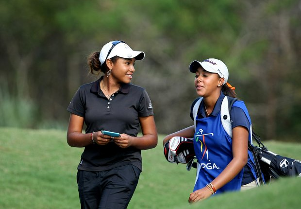 Ginger Howard with her sister/caddie Robbi during the third round of LPGA Qualifying School.
