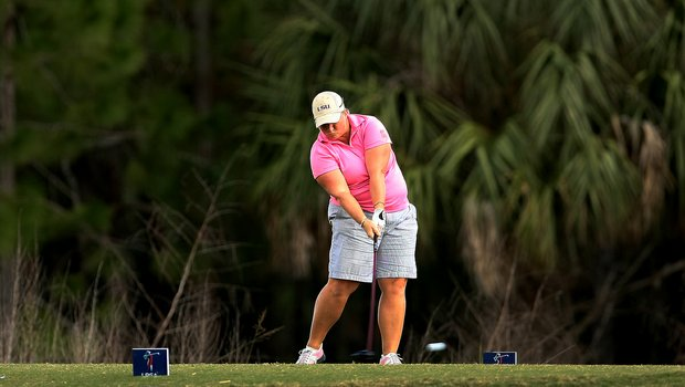 Meredith Duncan hits her tee shot at No. 5 during the third round of LPGA Qualifying School.