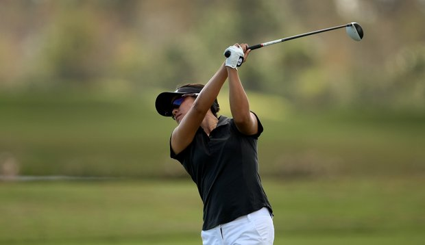 UCLA's Stephanie Kono on the Champions course during the third round. Kono is in third place after three rounds.