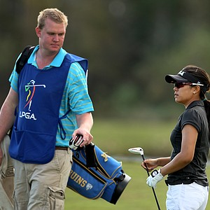 UCLA's Stephanie Kono with her caddie Dan Venema during the third round. Kono is T3 after three rounds of play.