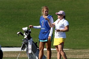 Kathleen Ekey, left, who finished first on the Futures Tour's season 2011 money list, caddied for Stephanie Connelly at the LPGA Qualifying Tournament. Connelly made the cut of 70 and ties with a T63.