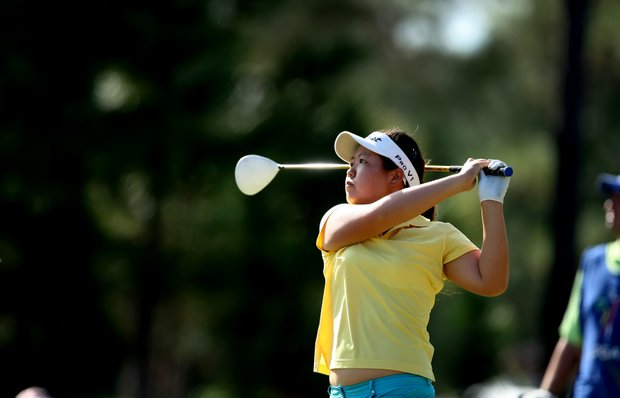 Christine Song during the fourth round of LPGA Qualifying Tournament. Song holds a 3-shot lead going into the final round.
