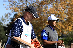 Tiger Woods waits to play a shot on the fifth hole during the second round of the Chevron World Challenge.