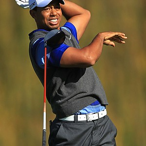 Tiger Woods watches his tee shot on the fifth hole during the second round of the Chevron World Challenge.