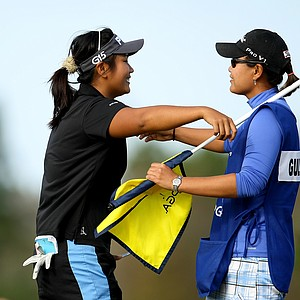 "Junthima ""Numa"" Gulyanamitta hugs her caddie and sister Russy after winning LPGA Qualifying Tournament at LPGA International."