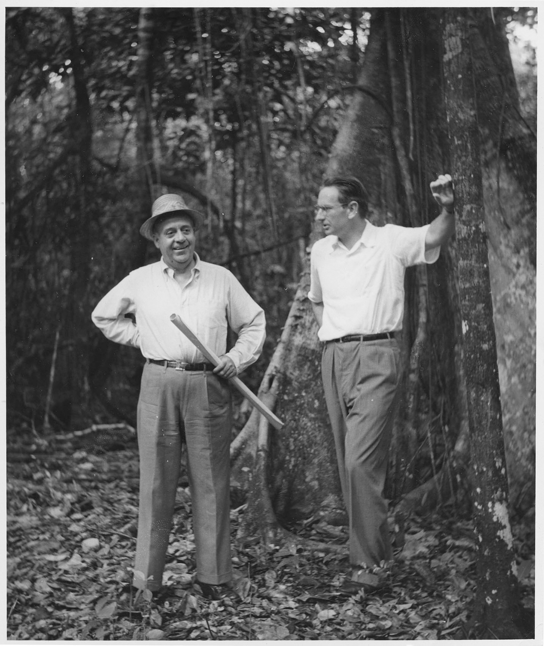 Architect Robert Trent Jones Sr. (left) and Laurance S. Rockefeller discuss plans in the early days of Dorado Beach.