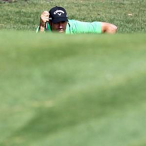 Alvaro Quiros plays a shot during the final round of the European Tour's Dubai World Golf Championship.
