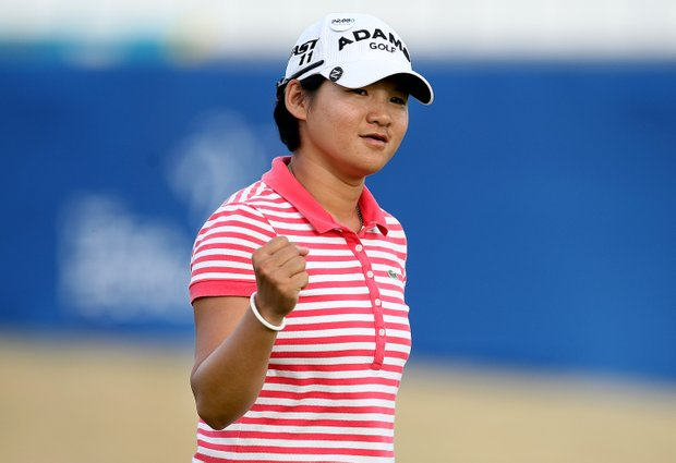 Yani Tseng makes birdie at No. 18 during Round 1 of the RR Donnelley LPGA Founders Cup.